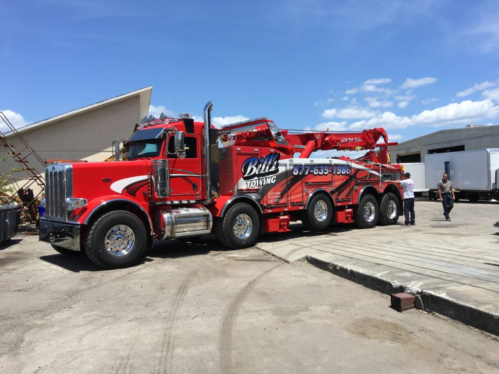 A Tow truck wrap printed and installed by R&B